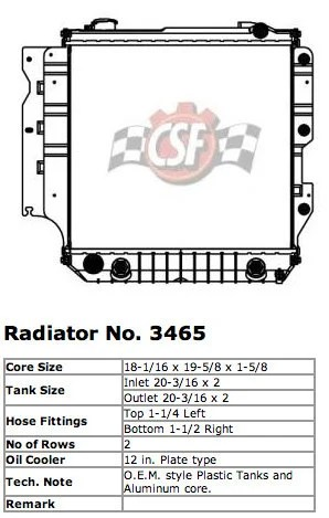 CSF 3465 OE Replacement Radiator with Plastic Tank