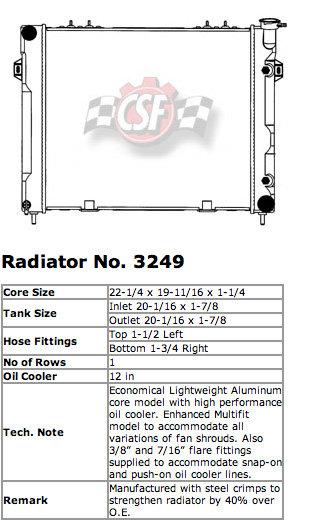 CSF 3249 OE Replacement Radiator with Plastic Tank