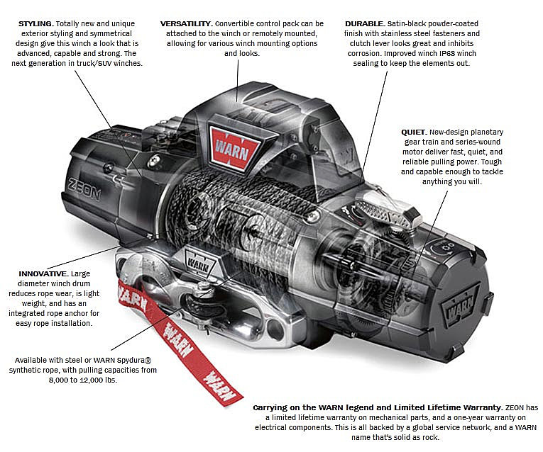 WARN 89120 ZEON™ 12 Winch with 80' Wire Rope and Roller