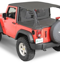 quadratop bimini top plus clearview windstopper tonno cover combo in black diamond for 07 18 jeep wrangler jk 2 door [ 2000 x 1405 Pixel ]