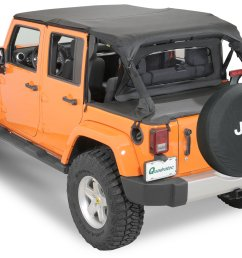 quadratop bimini top plus clearview windstopper tonno cover combo in black diamond for 07 18 jeep wrangler unlimited jk 4 door [ 2000 x 1384 Pixel ]