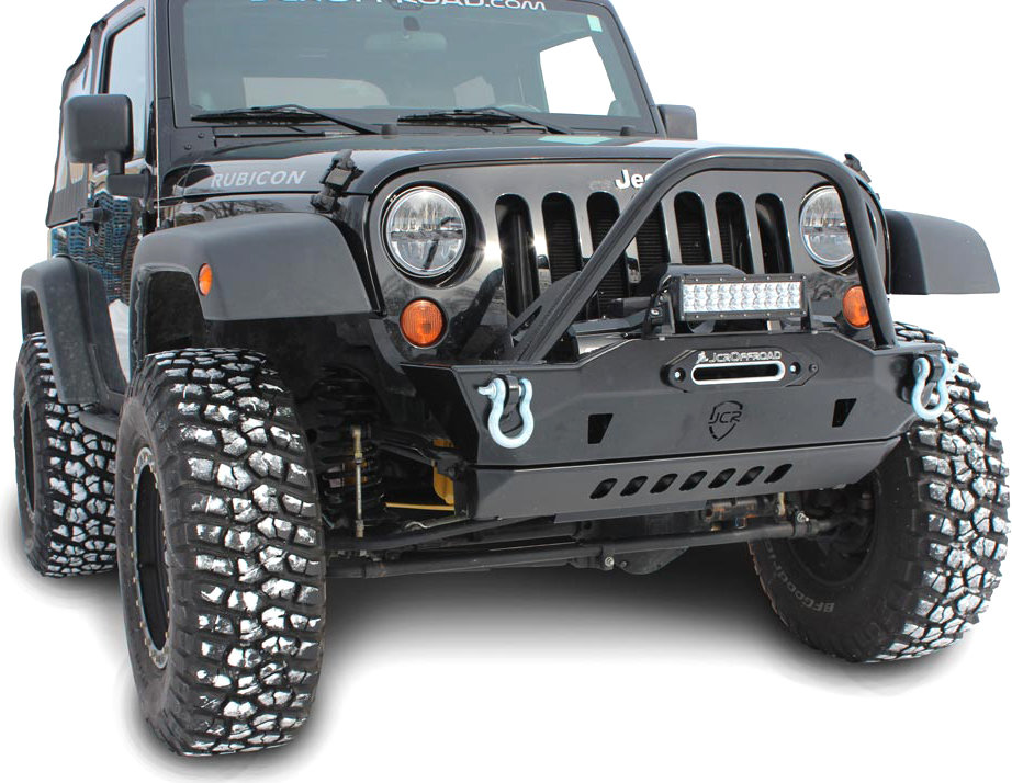 JCR Offroad Mauler Front Stubby Winch Bumper With Brush