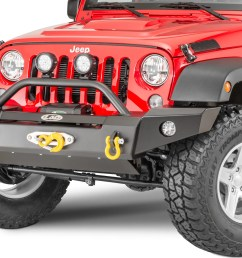 lod offroad signature series full width front winch bumper with bull bar for 07 18 jeep wrangler jk for warn zeon winch quadratec [ 2000 x 1422 Pixel ]