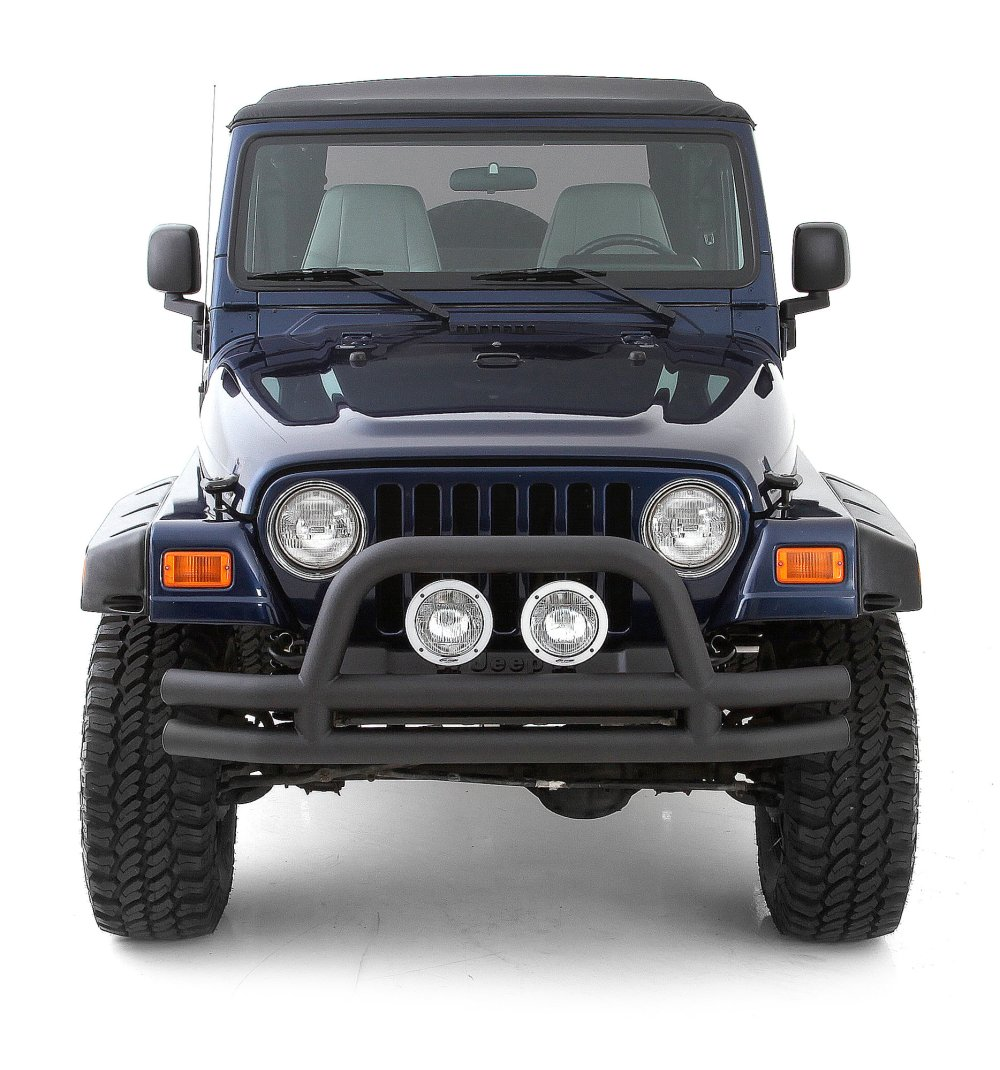 medium resolution of smittybilt front tubular bumper with hoop for 76 06 jeep cj wrangler yj tj unlimited quadratec