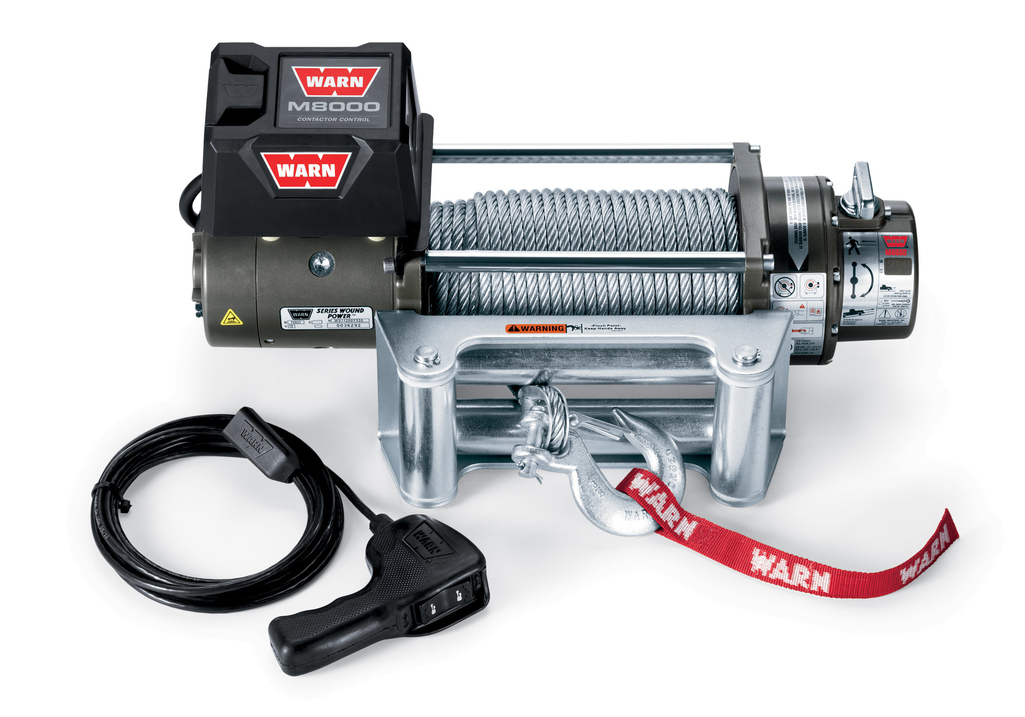 hight resolution of warn 26502 m8000 self recovery winch 12v dc 100 wire rope and roller fairlead quadratec