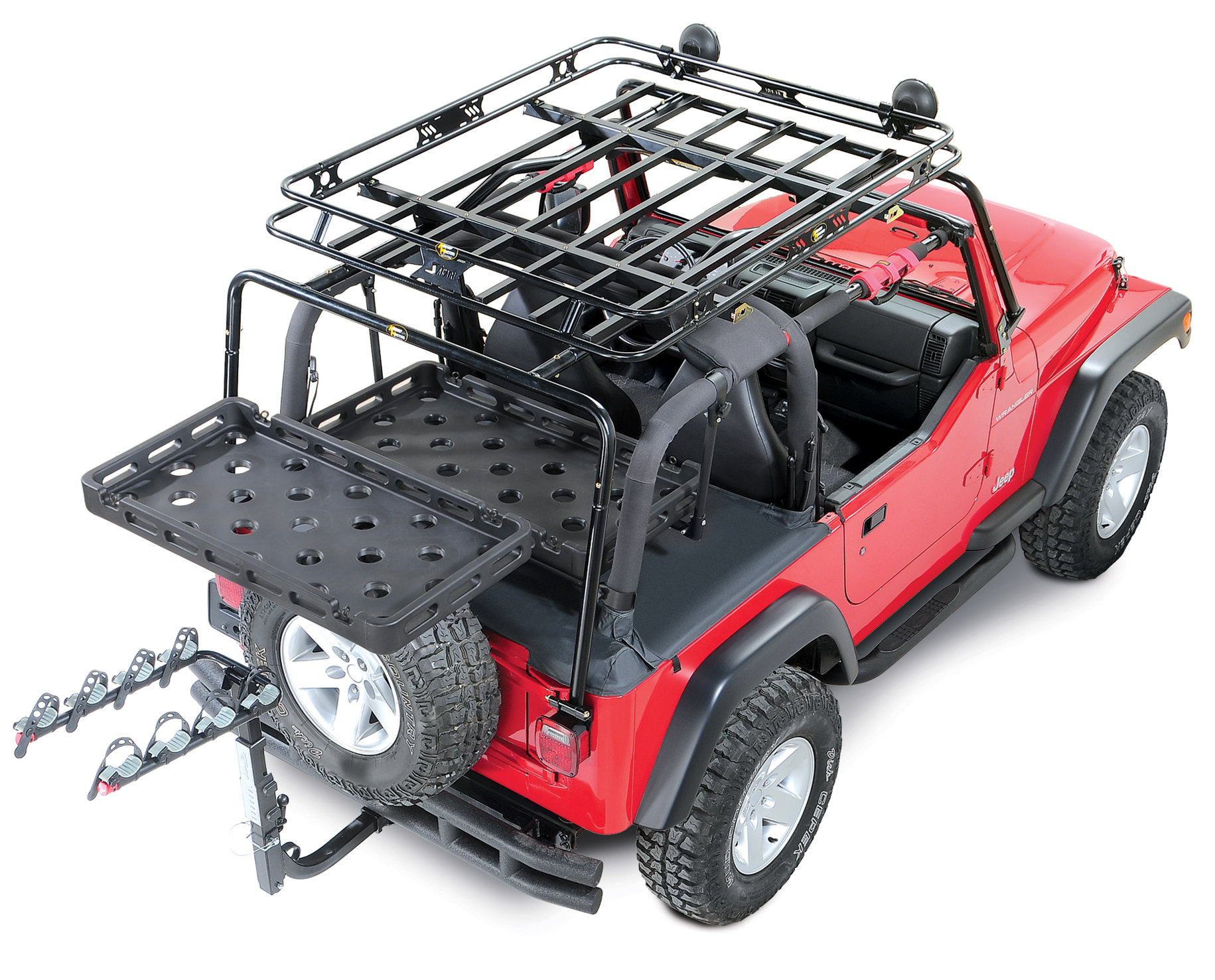 bestop highrock 4x4 tailgate rack bracket with universal rack tray for 87 06 jeep wrangler yj tj unlimited