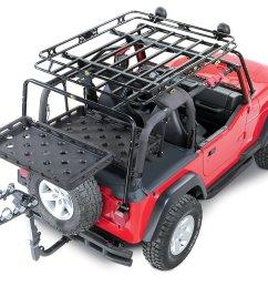 bestop highrock 4x4 lower cargo rack bracket with universal rack tray for 92 02 jeep wrangler yj tj [ 1831 x 1477 Pixel ]