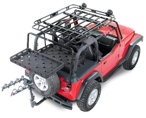 small resolution of bestop highrock 4x4 lower cargo rack bracket with universal rack tray for 92 02 jeep wrangler yj tj