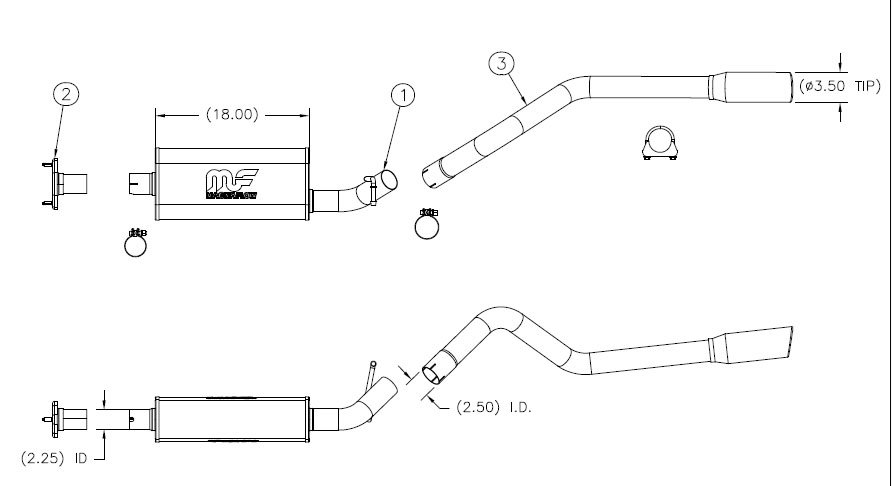 Magnaflow 16464 Performance Cat Back Exhaust System in