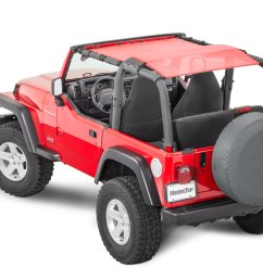 mastertop shademaker bimini top plus for 92 06 jeep wrangler yj tj [ 2000 x 1335 Pixel ]
