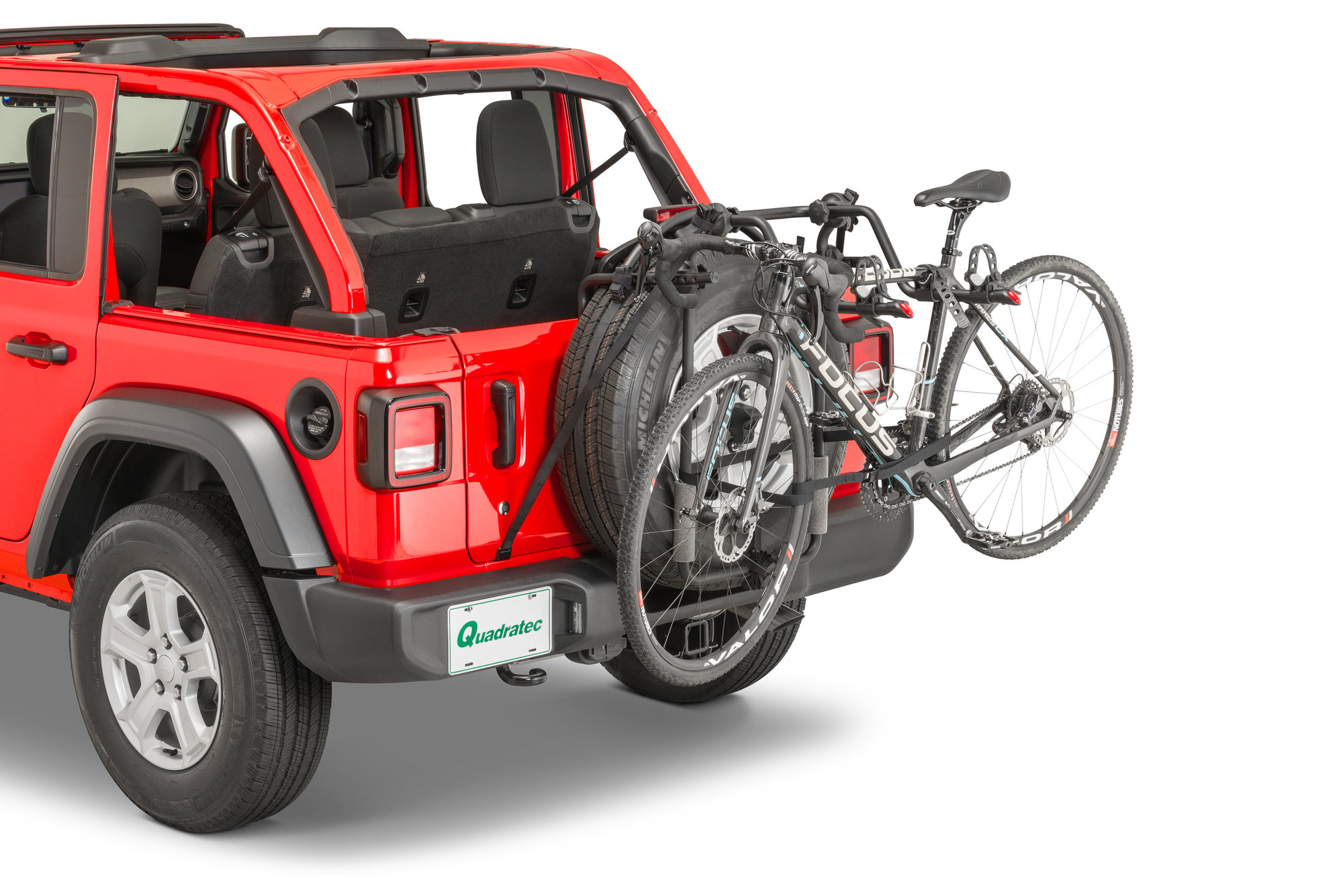 quadratec spare tire mount 2 bike rack