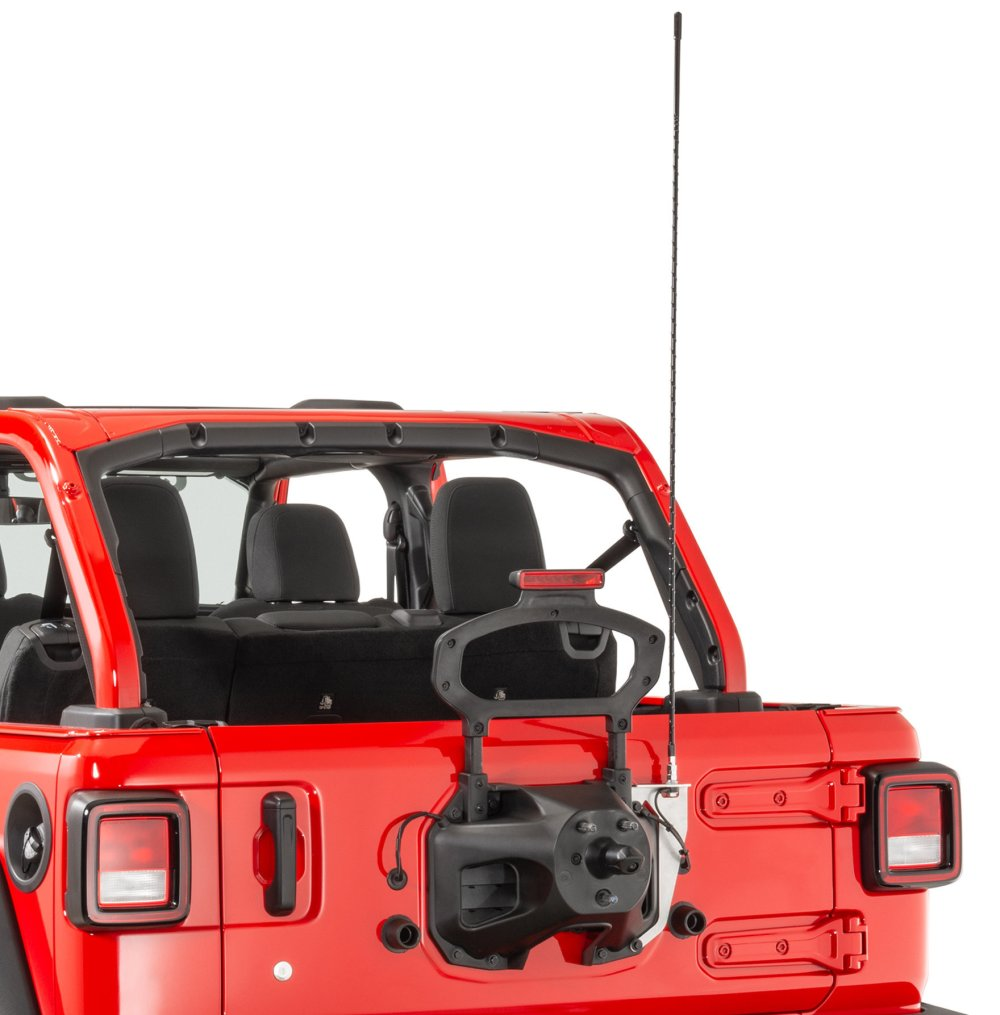 medium resolution of quadratec extreme duty stainless cb radio antenna rear tailgate mount with 48 antenna for 18 19 jeep wrangler jl quadratec