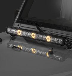 quadratec j3 led 28 light bar with hood mount brackets and wiring for 07 18 jeep wrangler jk quadratec [ 2000 x 1335 Pixel ]
