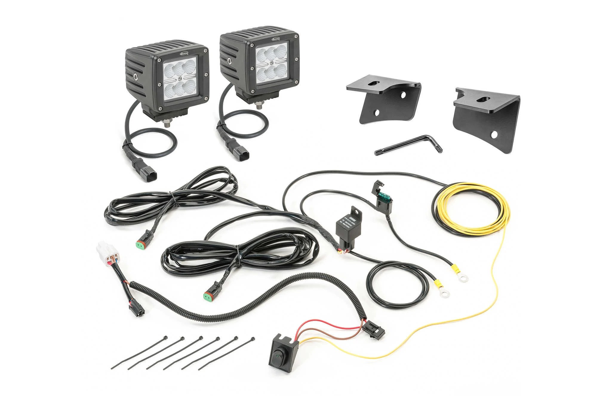 hight resolution of quadratec 3 cube led with wiring harness windshield mounting brackets daystar switch pillar