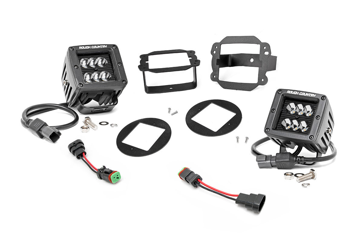Rough Country 2in Led Cube Lights With Fog Light Mount Kit
