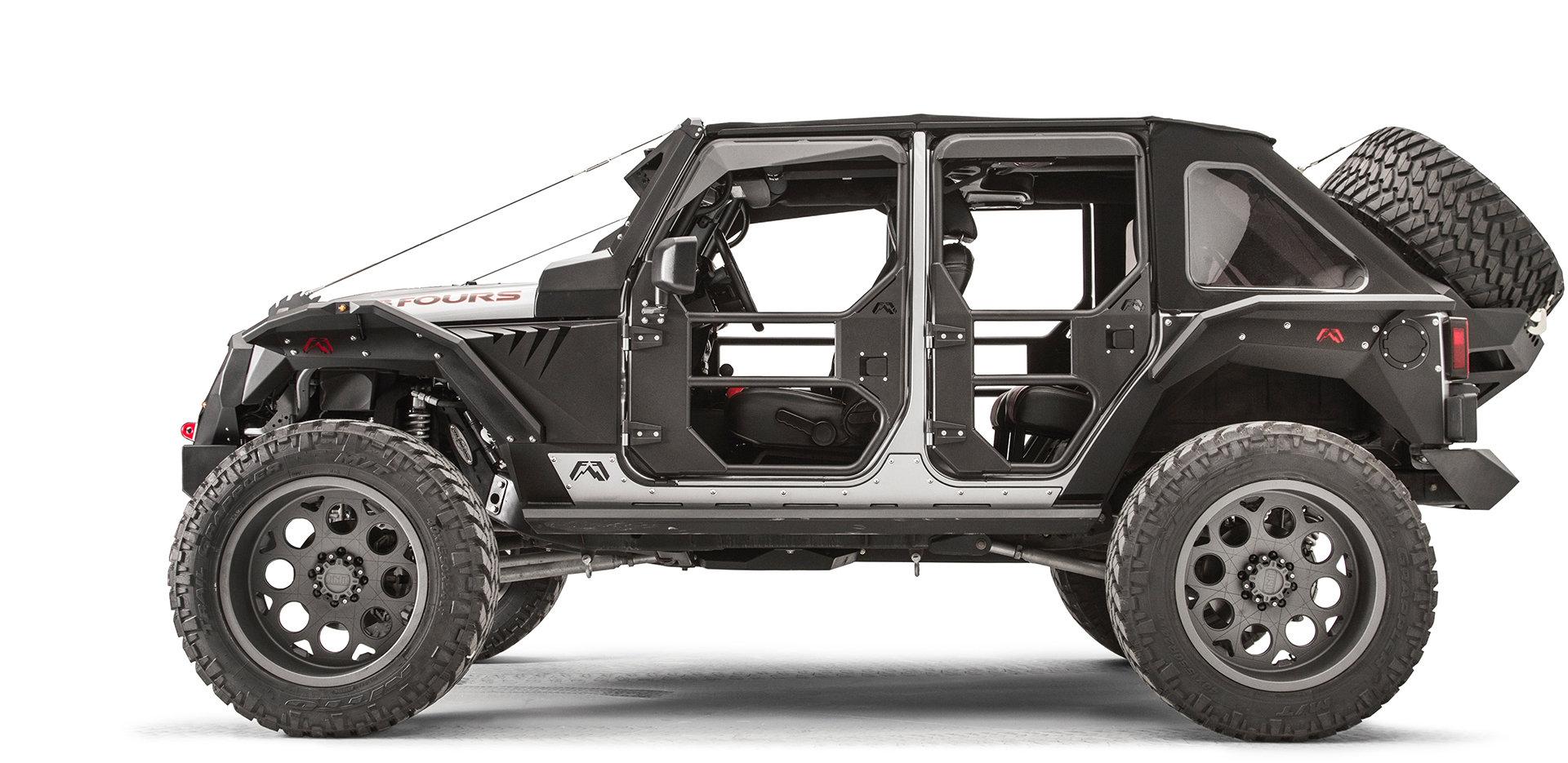 hight resolution of fab fours rear full tube doors for 07 18 jeep wrangler unlimited jk 4 door quadratec