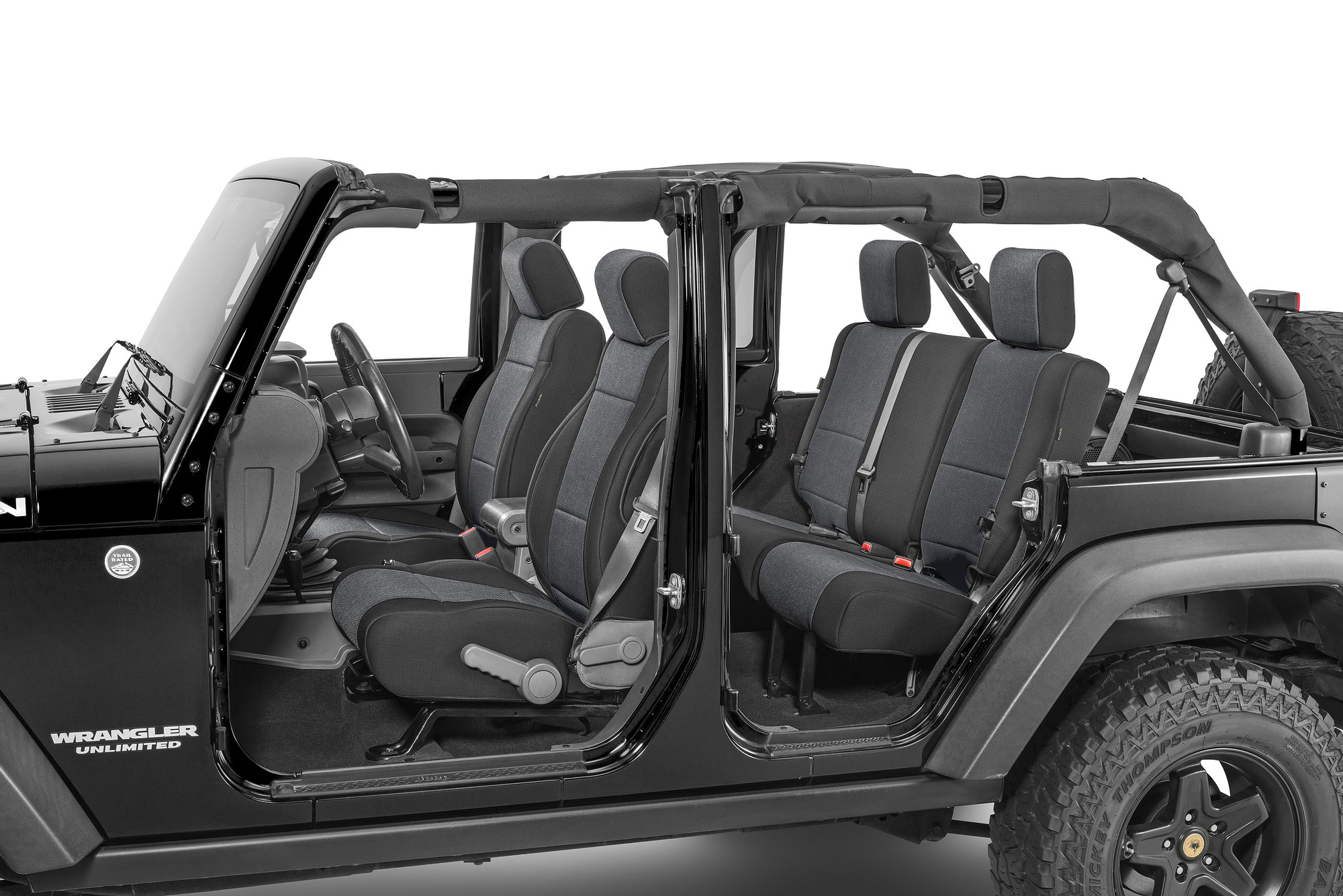 hight resolution of tecstyle custom fit front and rear cloth seat covers for 07 18 jeep wrangler unlimited jk quadratec