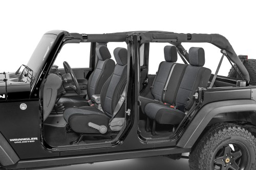 small resolution of tecstyle custom fit front and rear cloth seat covers for 07 18 jeep wrangler unlimited jk quadratec