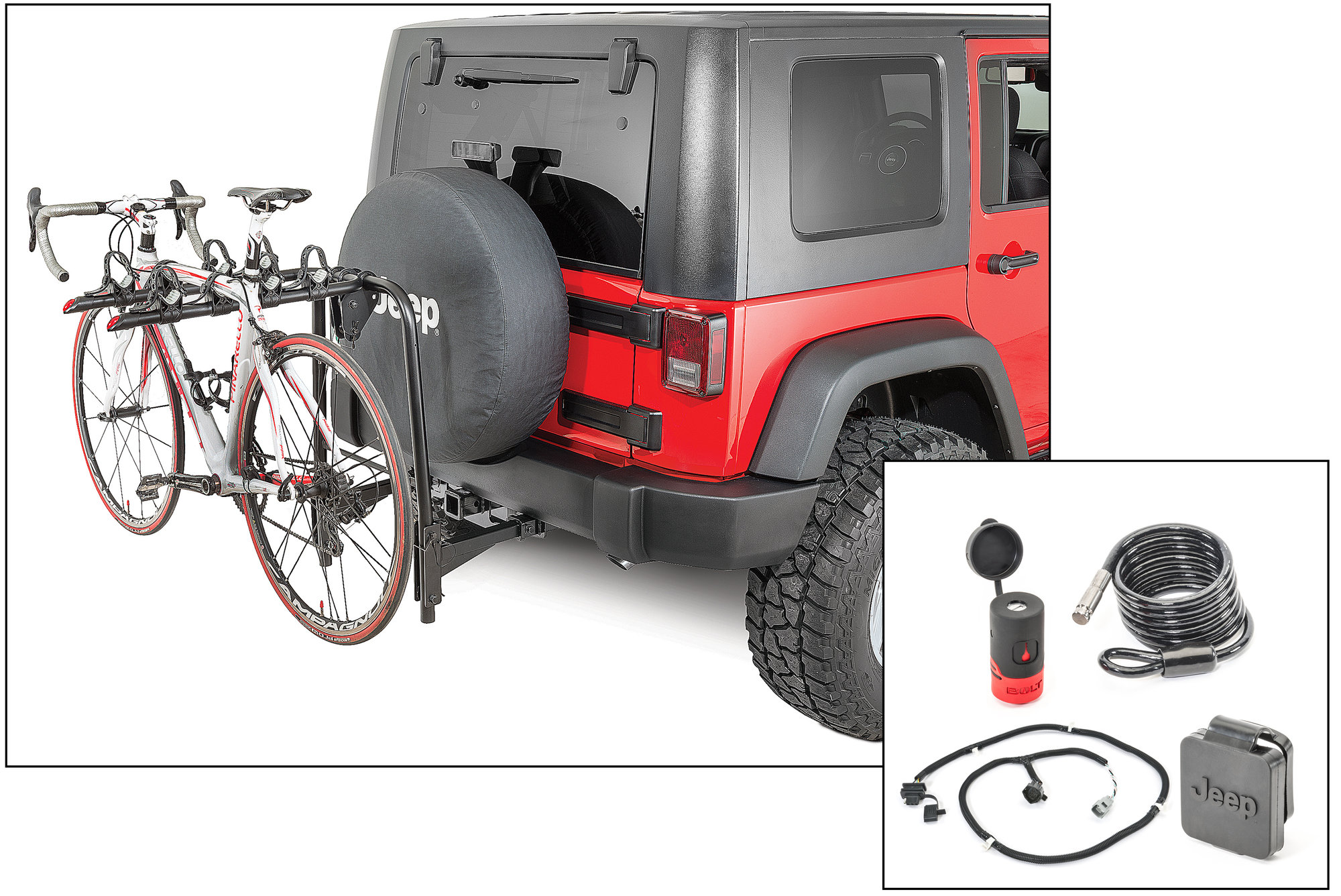 hight resolution of versahitch with bike rack bolt cable lock jeep logo hitch plug wiring kit for 07 18 jeep wrangler jk quadratec