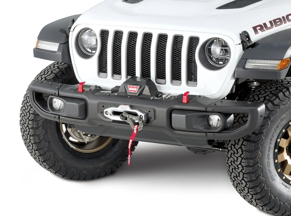 medium resolution of warn 101255 winch mount plate for 18 19 jeep wrangler jl with factory steel bumper quadratec