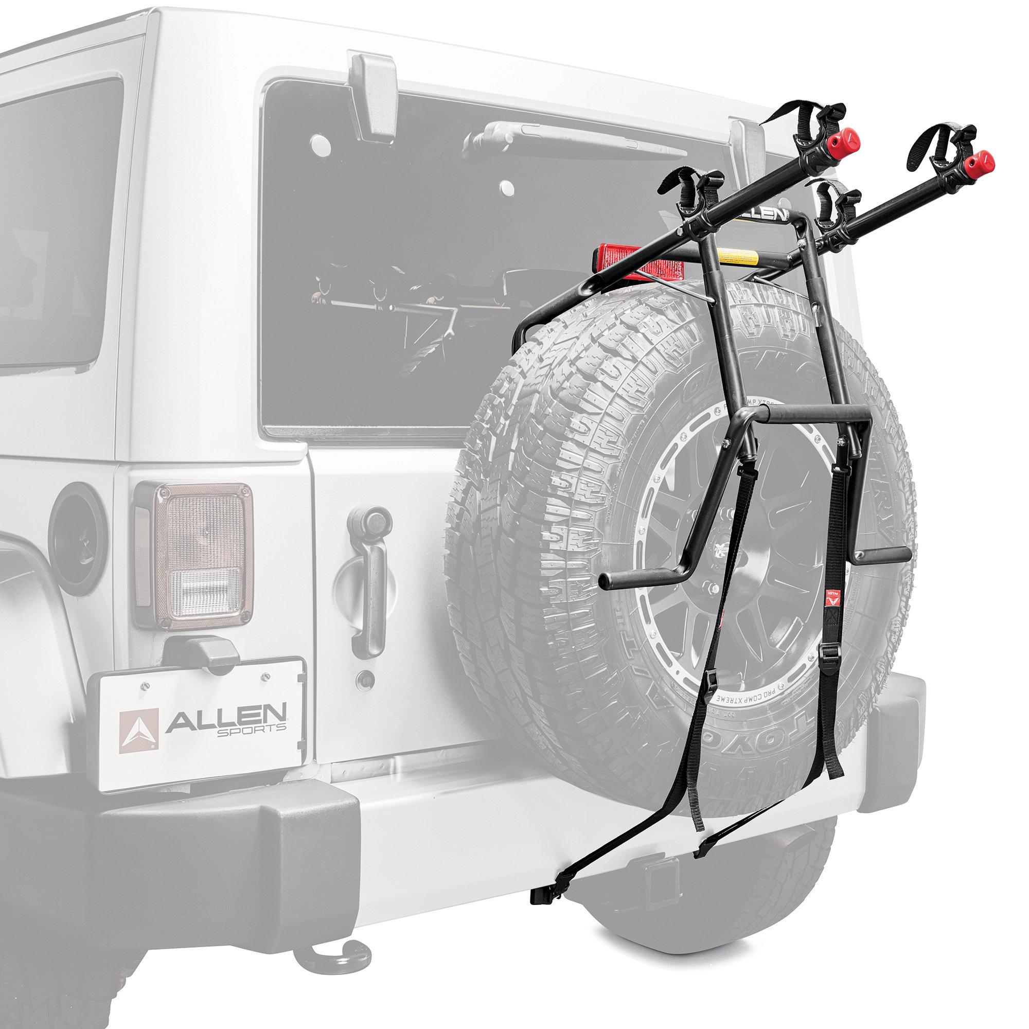 allen sports 322dn premium 2 bike spare tire mounted bike rack for 18 20 jeep wrangler jl