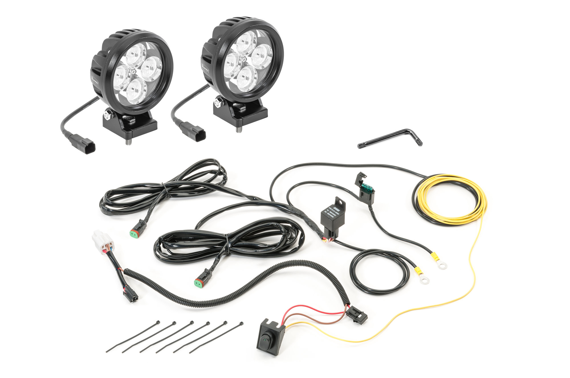 Quadratec 4 Round Led Lights With Wiring Harness Amp Grille
