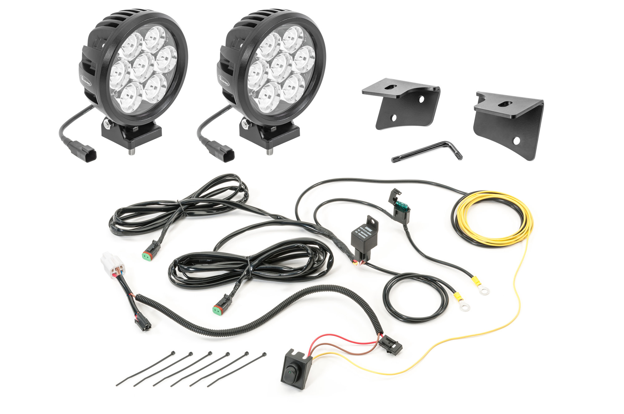 Quadratec 6 Round Led Lights With Wiring Harness
