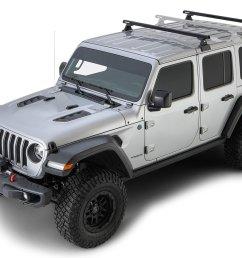rhino rack 2 bar backbone roof rack with quick mount legs for 18 19 jeep wrangler unlimited jl 4 door w hardtop quadratec [ 1568 x 840 Pixel ]