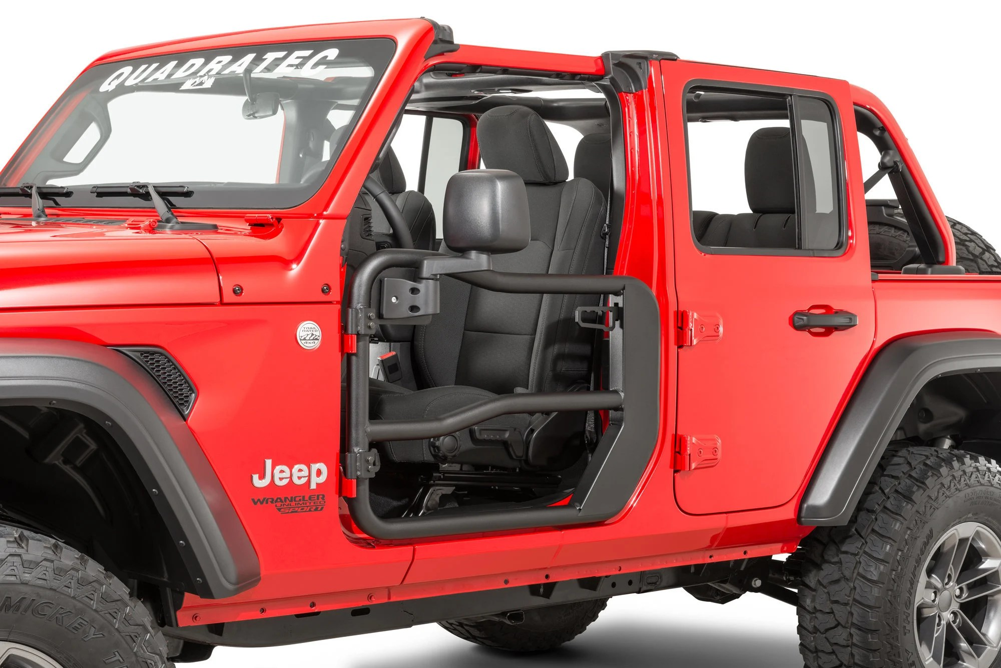 hight resolution of rugged ridge fortis front tube doors with free quadratec mirrors for 18 19 jeep wrangler jl and 2020 gladiator jt quadratec