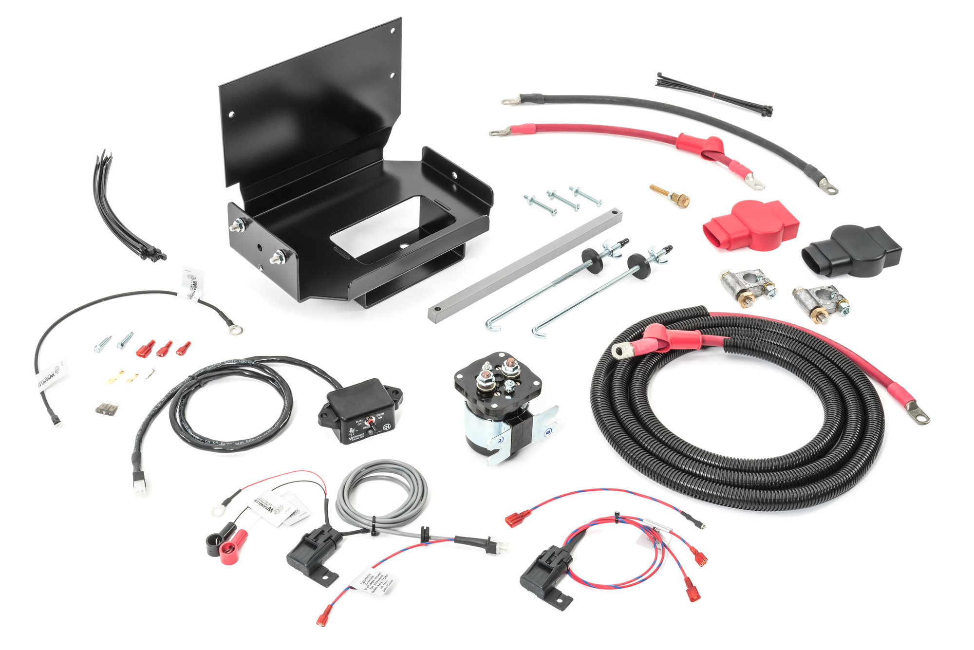 hight resolution of wrangler power products 3100130000 dual battery tray kit for 87 01 jeep auxiliary battery wiring