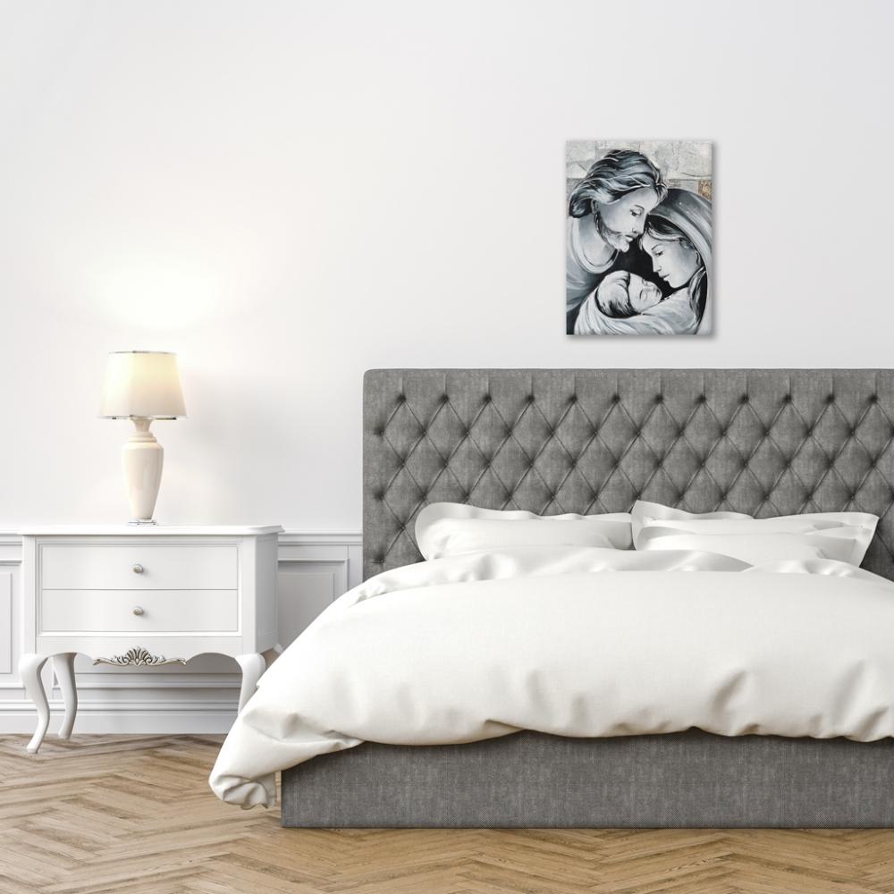 Oggi si scelgono soprattutto quadri in stile moderno per decorare la propria camera da letto (alberi stilizzati, raffigurazione della maternità o della sacra. Sacra Famiglia Quadri Argento Piccola Quadri E Arte