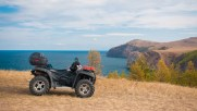 ATV on a rocky seashore