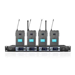 ammoon Système de Microphone Sans Fil 4 Canaux 4T UHF 4 Microphones 1 Récepteur Sans Fil Câble Audio de 6,35 mm Affichage LCD pour Karaoké Soirée