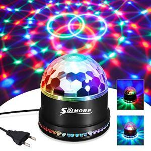 Boule Disco,SOLMORE Lampe de Scène Lumière Soirée Lumière Fête 12W AmpoulesJeux de Lumière Mini Projecteur Rond en Cristal Pour Fête d'anniversaire/Mariage/Bar/Club Décor.