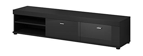 E-com Meuble TV Armoire Support Elsa Noir/Fronts Brillant Noir 140cm