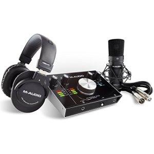 M-Audio M-Track 2×2 Vocal Studio Pro – Pack d'Enregistrement avec Interface M-Track 2×2, Microphone à Condensateur Nova, Câble XLR, Casque Audio HDH40 et Série de Logiciels de Musique