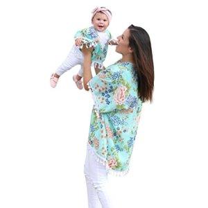 Mommy & Me Cardigan Surdimensionné pour Femme, Familizo Blouse de Plage de Gland de Famille (0-12Mois, (Bébé)Vert)