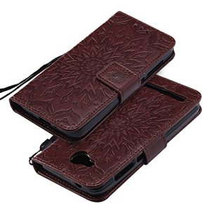 EINFFHO Coque Huawei Y3 II, Gaufrage Fleurs Coque en Cuir avec Souple Silicone Portefeuille Leather Folio Flip Housse Étui pour Huawei Y3 II Wallet Pouch Case Cover, Marron