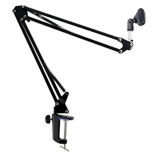 Foxnovo Radiodiffusion durable Studio Microphone Mic Suspension ciseaux bras perche (noir)