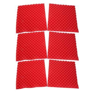 Tosuny 6 Panneaux acoustiques multifonctionnels Accessoires de Traitement insonorisés Home Studio, Carreaux de Panneau de Mur en Coin de Mousse en Forme de Pyramide (Noir, Jaune, Rouge)(Rouge)