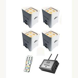 Chauvet DJ Freedom Par Hex-4 LED Blanc 4-Pack avec FlareCON Air Wireless Bundle émetteur