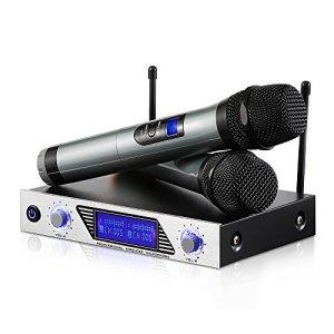 Microphone sans Fil Karaoké Micro sans Fil Professionnel Aluminium Alimenté par 2 AA Piles (Exclu) 2 Micro HF à Main Portable+1 Récepteur Micro VHF 2 Canaux 1 Cable 6.35 pour DJ Fête Réunion Mariage