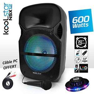 Enceinte Karaoké Sono DJ PA Mobile à LEDs RVB 12″/31cm 600W – Câble PC/USB/Bluetooth/SD + Microphone – Koolstar NSX12