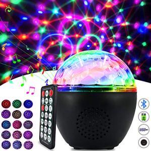 Boule Disco Led 16 Couleurs Lumiere Disco Éclairage de Discothèque Lampe de Scène Lumiere avec Bluetooth Télécommande et Câble USB Boule de Lumiere Disco pour Fête Noël Bar DJ Anniversaire Mariage