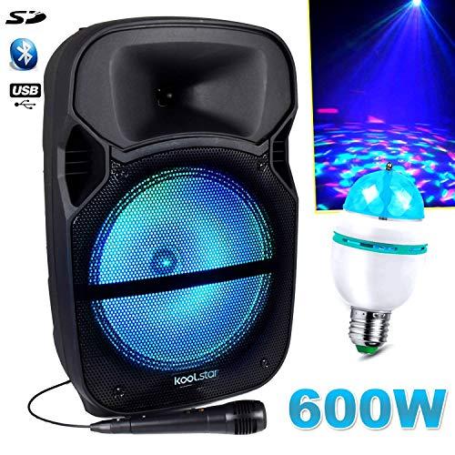 Enceinte Karaoké 600W Sono DJ PA Mobile à LEDs RVB 12″/31cm – USB/Bluetooth/SD + Microphone – Koolstar NSX12 + Ampoule Diams