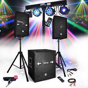 Pack SONO DJ PARTY BM SONIC BMS-1512 USB Bluetooth 2 ENCEINTES + SUB + Pack Light EUPHORIA pour Mariages, salle des fêtes