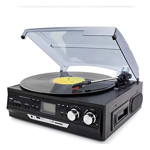 YWAWJ Vinyl Record Modern Player Enregistrement Antique Phonograph Record Player Turntable avec Speakersaudio Old Record Player Radio U Disque Bande Bluetooth Multifonction