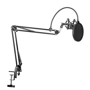 Neewer 90087700 Kit NB-35 Support de Microphone Suspension Boom avec Fixation de Table, NW (B-3) Filtre anti-pop et Support Antichoc Métallique pour Enregistrement Studio – Noir