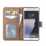 Bear Village® Coque Galaxy Note 5, Housse à Rabat en Cuir pour Samsung Galaxy Note 5, Anti Rayures Portefeuille Coque avec Emplacements pour Cartes, Marron