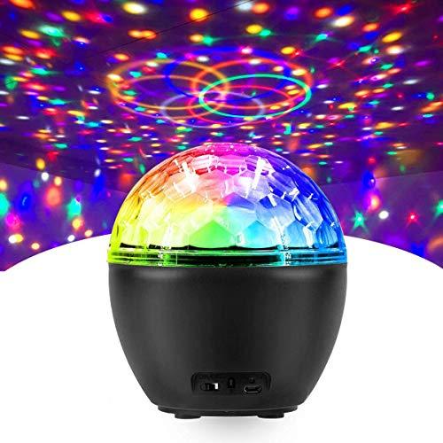 Boule Disco, FOCHEA Lampe de Scène Mini Éclairage de Discothèque Projecteur Boule Lumière Projecteur avec Télécommande et Câble USB pour Fête, Noël, DJ Disco, Bars, Clubs, Karaoké, Scène, Anniversaire